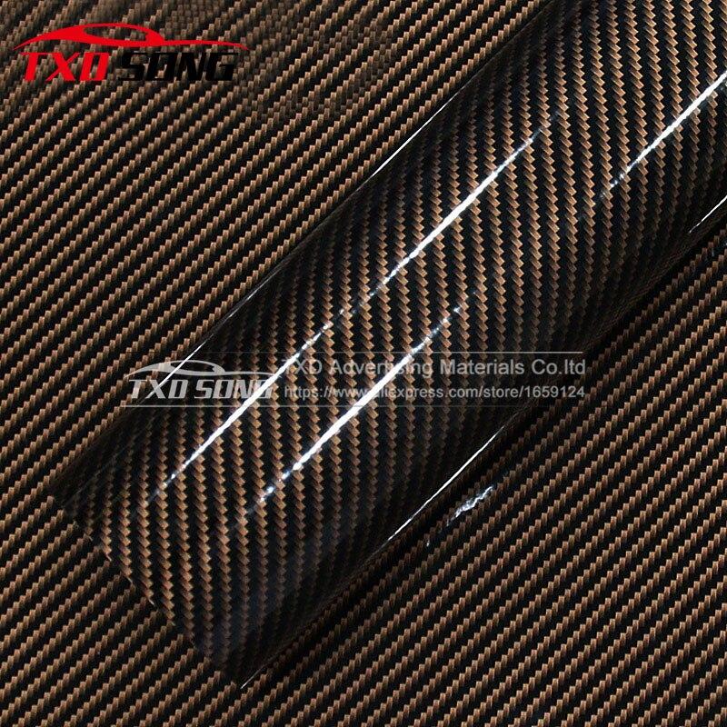 10/20/30/40/50/60X152 CM/LOT or Twill 2D Fiber de carbone brillant Fiber de carbone vinyle Film AUTO vinyle Film pour la décoration de voiture