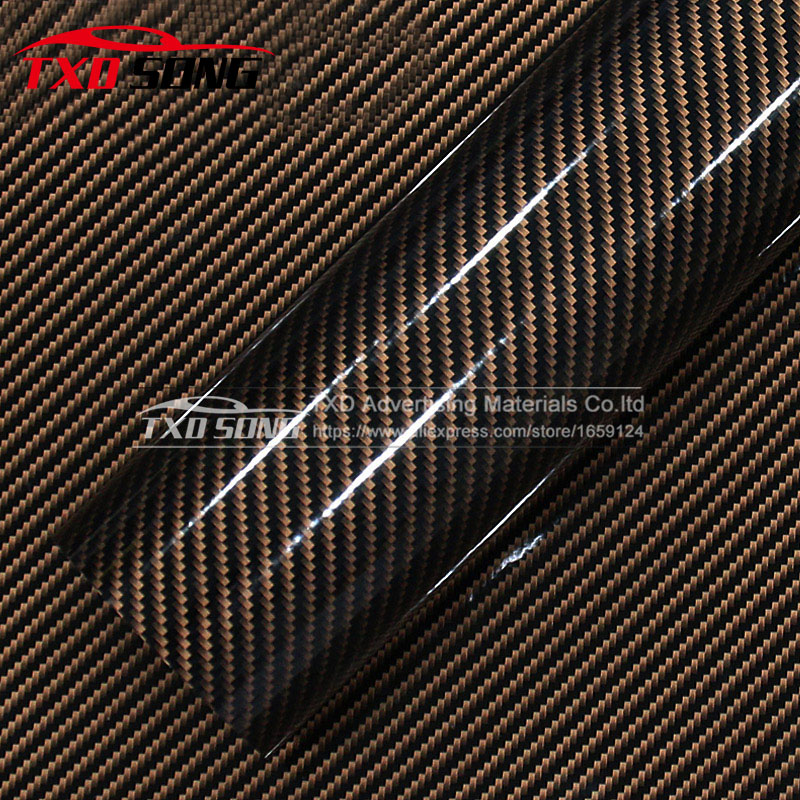 10/20/30/40/50/60X152CM/LOT GOLD Twill 2D Carbon Fiber Glossy Carbon Fiber Vinyl Film AUTO Vinyl Wrap Film For Car Decoration