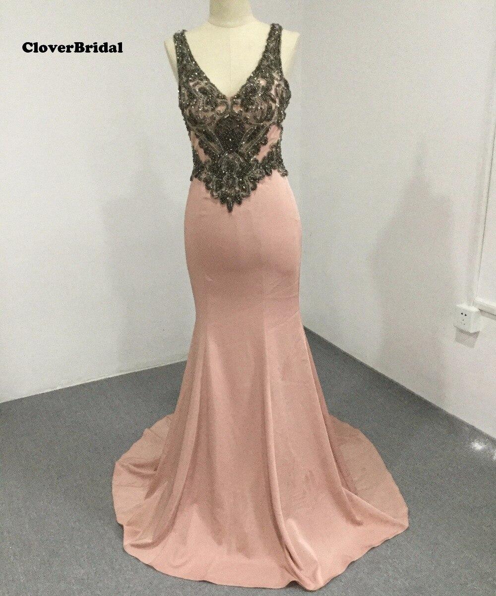 CloverBridal New inspired bandage Mermaid Rose pink Imitation Celebrity Dresses Gorgeous Rich rhinestones Robe de soiree 2017