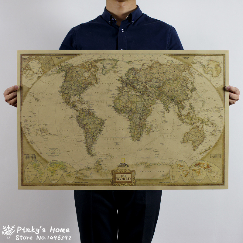 100x66cm Vintage World Map Travel Home Decoration Detailed Antique Poster Wall Chart Retro Paper Matte Kraft Paper Map World