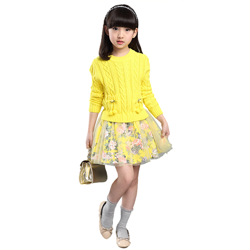 ФОТО Girls Kintted Pullover Spring And Autumn Cardigans 2016 New O-Neck Kids Sweaters Cute Printed Princess Dress With Mesh Hem