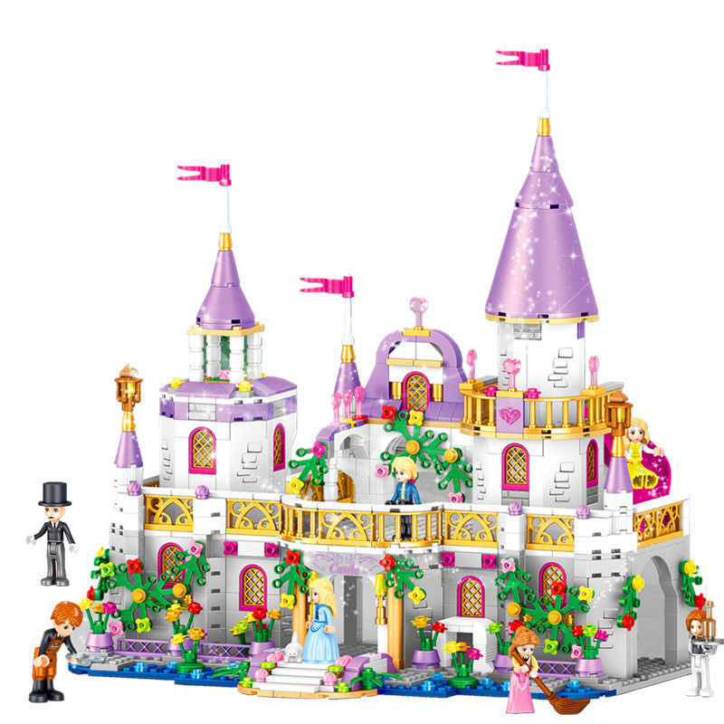 Anna Elsa Princess Castle Blocks Building Windsor's Castle Bricks Kit Toys Girls Birthday DIY Model Kids Compatible with Legoe princess elsa s magical ice castle model building blocks girls toys lepin compatible legoe friends princess kid gift set