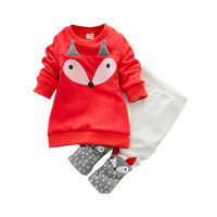cute baby kids tops pants set lovely fox head pattern clothes set for 1 3yrs child infant boys girls outerwear clothes set