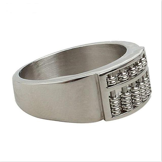 Jewelry wholesale personality retro tide male simple abacus titanium steel casting ring t0696