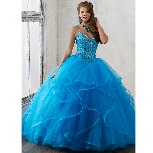 Spaghetti Jeweled Frisada Vestidos Quinceanera Azul Royal Vestidos Quinceanera vestido de Baile Vestidos De Marmelo anos 2017