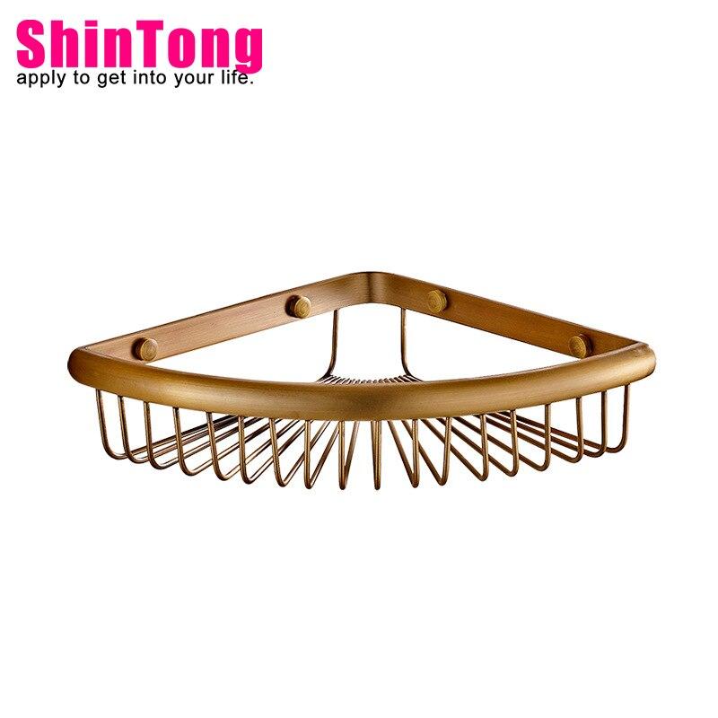 bathroom  wall shelf accessories shelves copper shower caddy European single layer sector floating shelf ShinTong