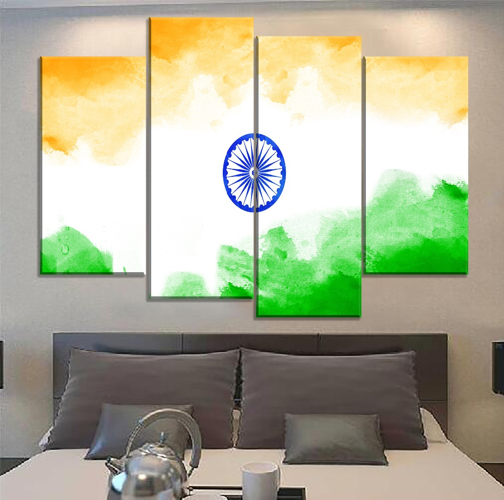 Home Decorative Wall Art 1 Panel India Tricolour Flag Painting On Canvas Print Type HD Picture For Modern Living Room Artwork in Painting Calligraphy from Home Garden