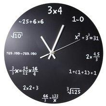 Große Wanduhr Mathematik Tafel Pop Quiz Küche Uhr Schwarz Pulver Beschichtet Metall Quartz Rund Arithmetik Wand Uhr