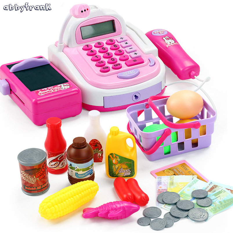 Electronic Cash Register Kit Toy Supermarket Pretend Play Simulated Set With Food Coin Girls Learning New Year Toys For Children