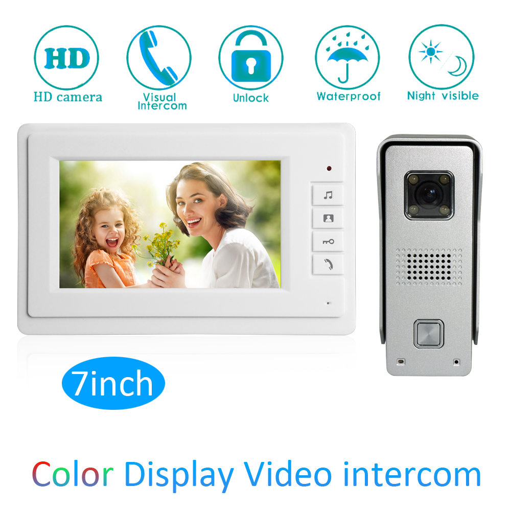 1 Set Intelligent 1 to 1 Intercom Kit 7 inch LCD Monitor Wire Video Door Phone Doorbell System Security Camera For visitor