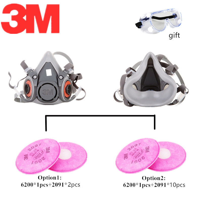 3M 6200 2091 Dust Mask Spraying Weld Double Activated Air Filters Industrial Dust-proof Cool-flow Valves Protective Respirator