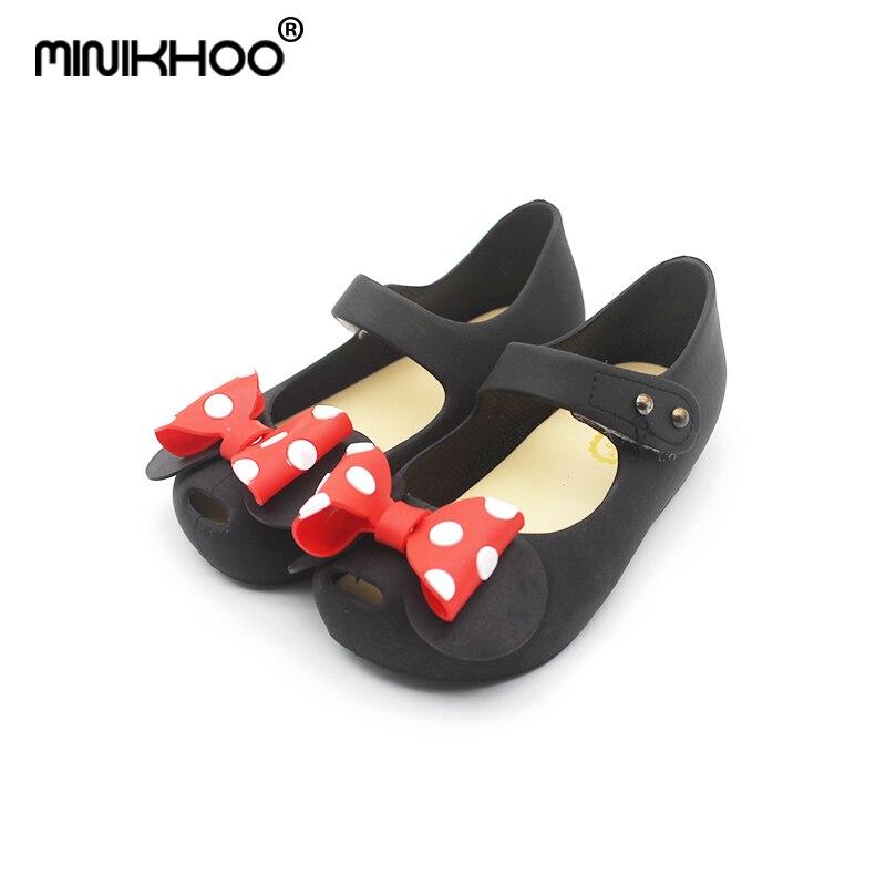 Mini Melissa Dotted Bow Minnie Bowknot Girls Jelly Sandals 2018 New Melissa Jelly Sandals Non-slip Girl Sandals 14cm-16.5cm