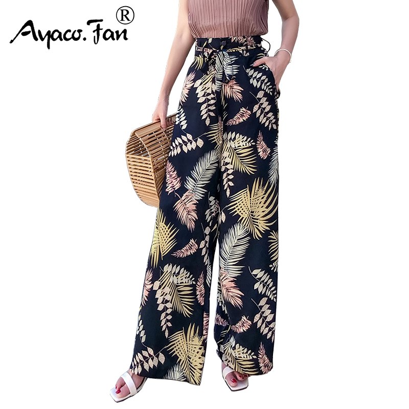 Summer New Vintage Boho   Wide     Leg     Pants   2019 High Waist Loose Floral Print Long Women Trousers Casual Lady Holiday Beach   Pants