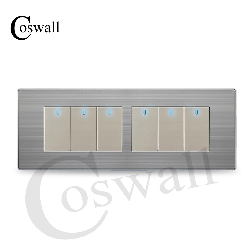 Image 2 - COSWALL 6 Gang 2 Way Luxury Light Switch On / Off Wall Interruptor With LED Indicator Stainless Steel Panel 197* 72mmpush button wall2 gang light switch6 gang switch -