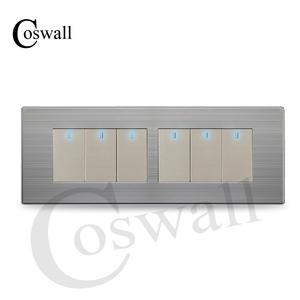 Image 2 - COSWALL 6 Gang 2 Way Pass Through Light Switch On / Off Wall Switch Switched With LED Indicator Stainless Steel Panel 197* 72mm