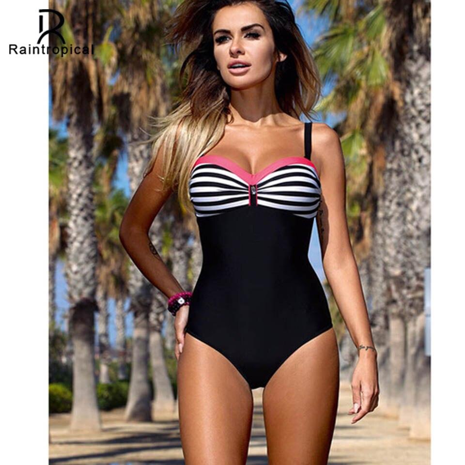Raintropical 2019 New Plus Size Swimwear One Piece Swimsuit Women Patchwork Slimming Retro Bathing Suits Female Large Swim Wear