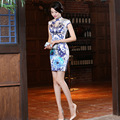 High Quality Women Summer Short Retro Chinese Traditional Dress Short Chi-pao Silk Cheong-sam One-piece Dress 18