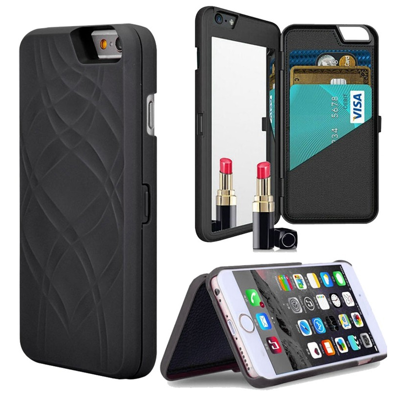 low priced 6c2e4 97fca New Multifunction 2 in 1 Snap On Mirror Wallet Case for funda iphone 5 5s 6  6s 7 Plus Hidden Card Case Flip Leather Accessories-in Flip Cases from ...