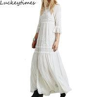 Luckeytimesボヘミア刺繍ホワイトドレス女性ブラックフリルエレガントな甘い長い緩いドレスパーティー自由奔放に生きるビーチフェムvestidos