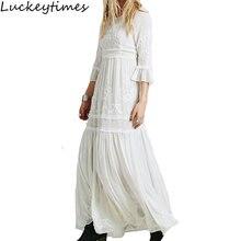 Luckeytimes Bohemia Embroidery White Dress Women Black Ruffles Elegant Sweet Long Loose Dresses Party Boho Beach Femme Vestidos