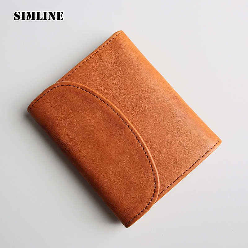 SIMLINE Vintage Genuine Leather Cowhide Mens Male Short Trifold Wallet Wallets Purse Card Holder Coin Pocket Carteira For Men
