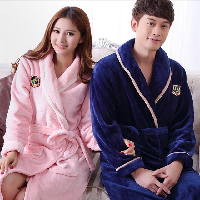 Otoño batas de invierno para hombres de las mujeres de señora de manga larga bata de franela hombre-mujer ropa de dormir homewear pijamas salones
