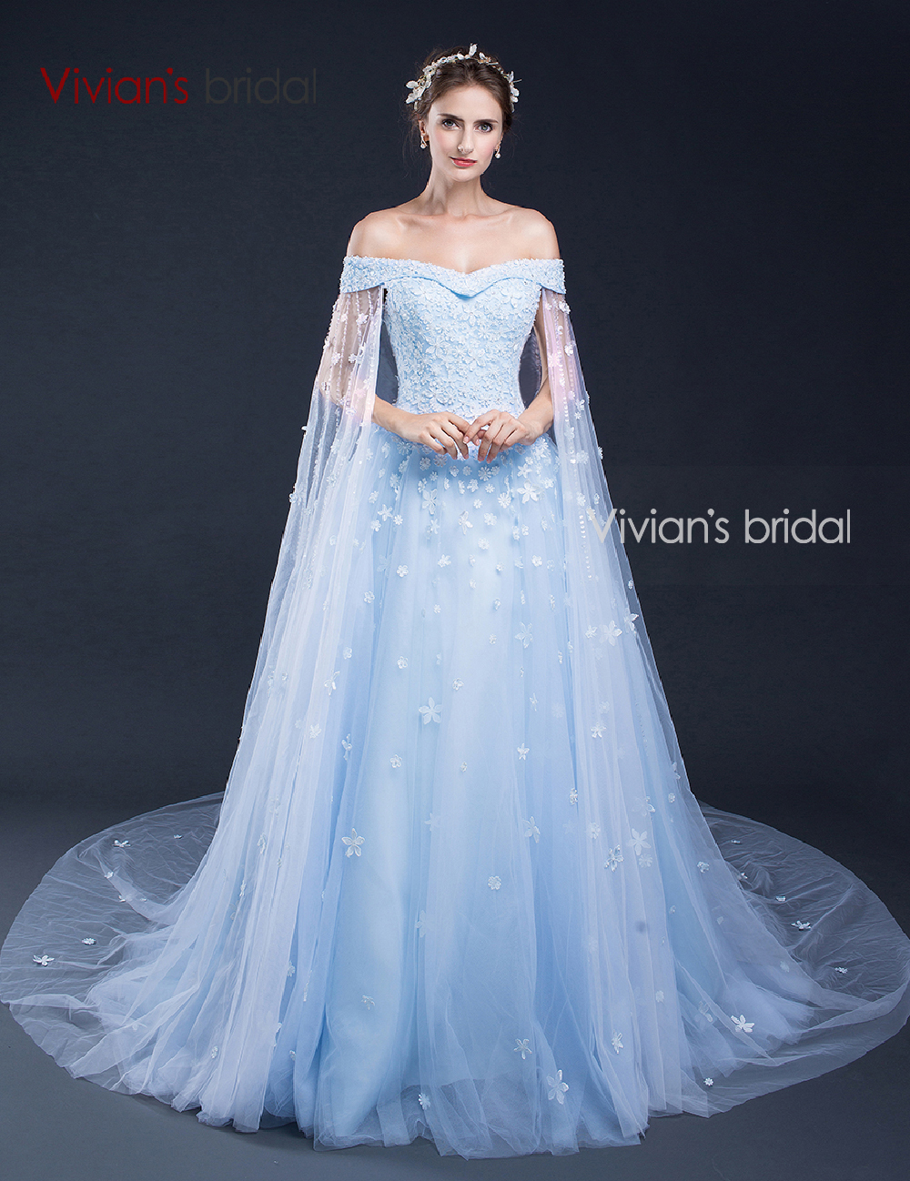 Vivian 39 s bridal blue wedding dress 2016 strapless flower for Blue lace wedding dress