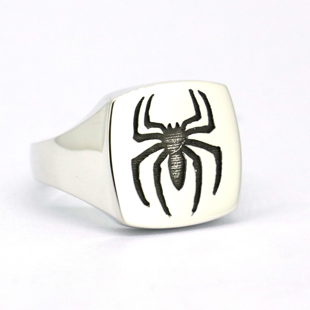 Wellmade Solid 925 Sterling Silver Unique Shine Finish Spider Ring