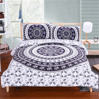 3Pcs Bed In A Bag Bedding Set Black And White Decorative Bedspreads Indian Elephant Print Duvet