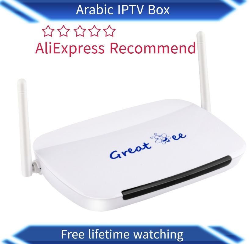 2019 the best Great Bee Arabic IPTV box android 4.4 wifi with free subscription free  shipping