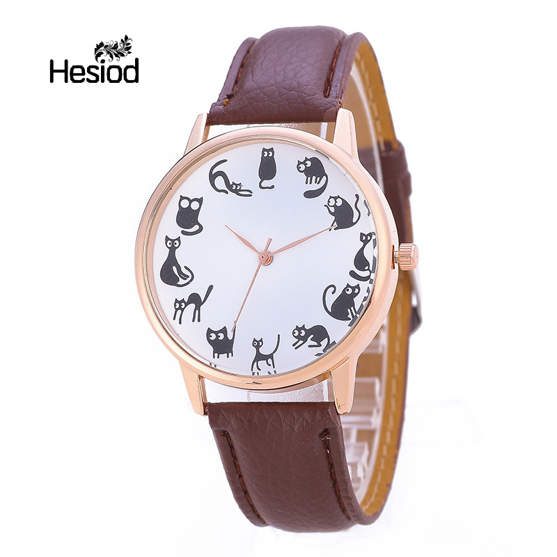 Hesiod Cute Design Cat Dial Multicolor Leather Watches For Women Casual Ladies Cartoon Quartz Watch For Students