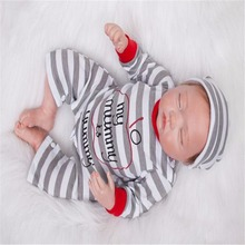 18inch 47cm Silicone baby reborn dolls, lifelike doll reborn Cute Striped clothes baby doll sleeping baby boy sleeping doll gift