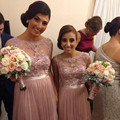 Hot Sale Jewel Neck Sleeveless Pink Beaded Lace Chiffon Bridesmaid Dresses Party Gowns Custom Size 4 6 8 10 12 14 16 18++ B25