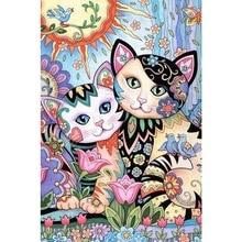 Cats DIY diamond painting cartoon cats dimaond embroidery full drill couple mosaic round