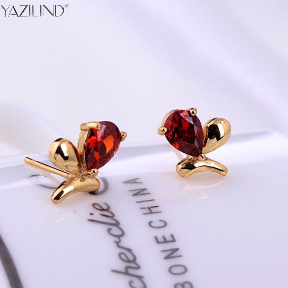 Er 2017 Cute Gold Small Heart Earrings Little Girls Wine Red Crystal Stone  Earring Korean Jewelry Brands