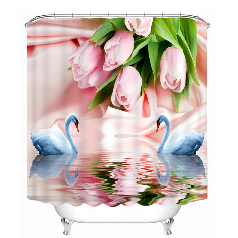 3D Shower Curtains Pink Rose And Swan Lovers Pattern Bathroom Curtains Waterproof Washable Bath Curtain Customizable