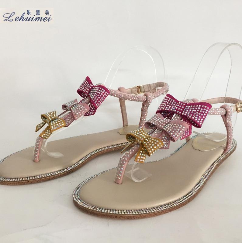 цена 2018 Woman Sandals Women Shoes Rhinestones Chains Gladiator Flat Sandals Crystal Chaussure Flower bow tie fashion lady flat shoe онлайн в 2017 году
