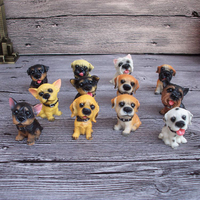 Wholesale 12pcs dogs simulation dog Decoration creative resin crafts fine jewelry supply Action Figure Toys