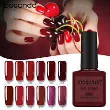 Ibcccndc 12Pcs 10ml Wine Red Series Set for Nail Gel Polish Soak Off Curing with UV Lamp Varnish