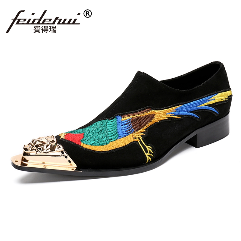 Plus Size New Fashion Pointed Toe Slip on Man Wedding Party Loafers Cow Suede Leather Men's Runway Rocker Shoes For Male SL164 large size mens luxury fashion party nightclub cow leather shoes slip on breathable rhinestones shoe pointed toe loafers sapatos