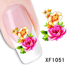 цена на rose flower design Water Transfer Nails Art Sticker decals lady women manicure tools Nail Wraps Decals wholesale XF1051