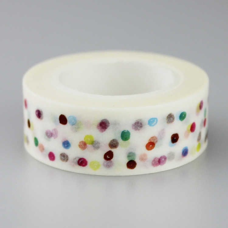 1.5cm Wide Colorful Polka Dot Washi Tape Adhesive Tape DIY Scrapbooking Sticker Label Masking Tape
