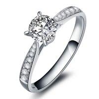 0,15 карат, круглая огранка с натуральным бриллиантом обручальное кольцо бриллиантовый блеск 14 к белое золото для женщин