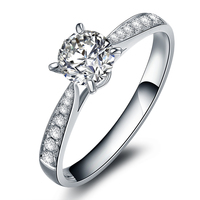 0.15carat Round Cut Natural Diamond Engagement Wedding Ring Diamond Accents 14k White Gold For Women