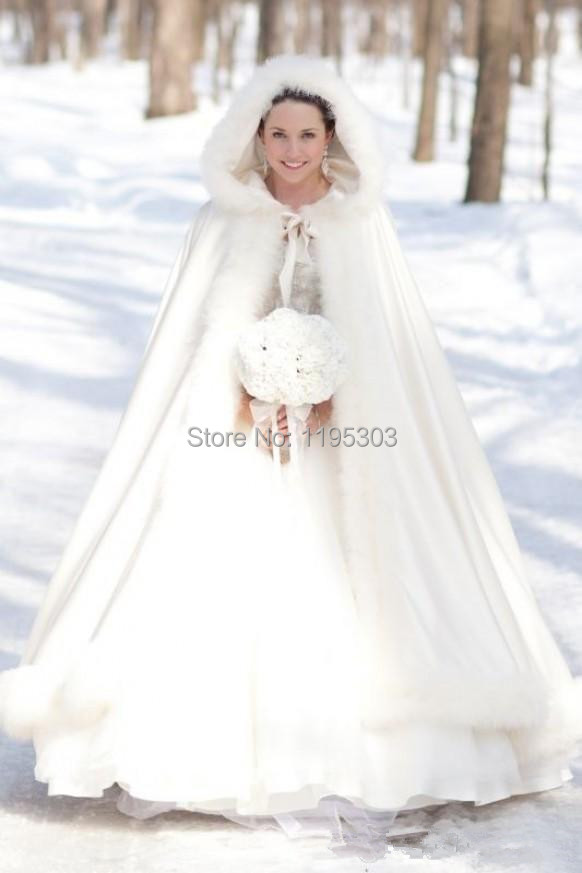 2017 Winter White Wedding Wrap Cape Hooded With Fur Trim Long