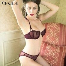 프론트 클로저 브래지어 팬티 세트 투명 브래지어 자수 레이스 속옷 여성 세트 블랙 초박형 섹시한 여성 란제리 세트
