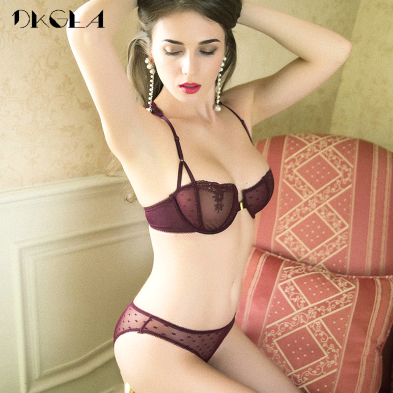 Front Closure Bra Panties Sets Transparent Brassiere Embroidery Lace Underwear Women Set Black Ultrathin Sexy Women Lingerie Set