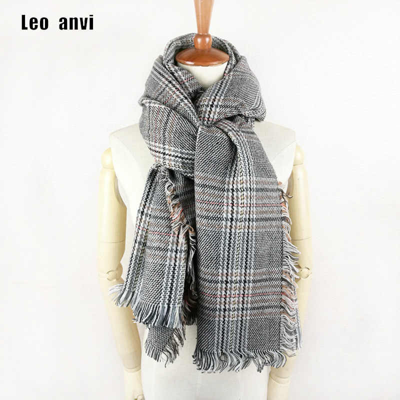 d436b6b4f Leo anvi women winter shawl plaid fashion Houndstooth female long pashmina cashmere  scarf luxury brand ponchos