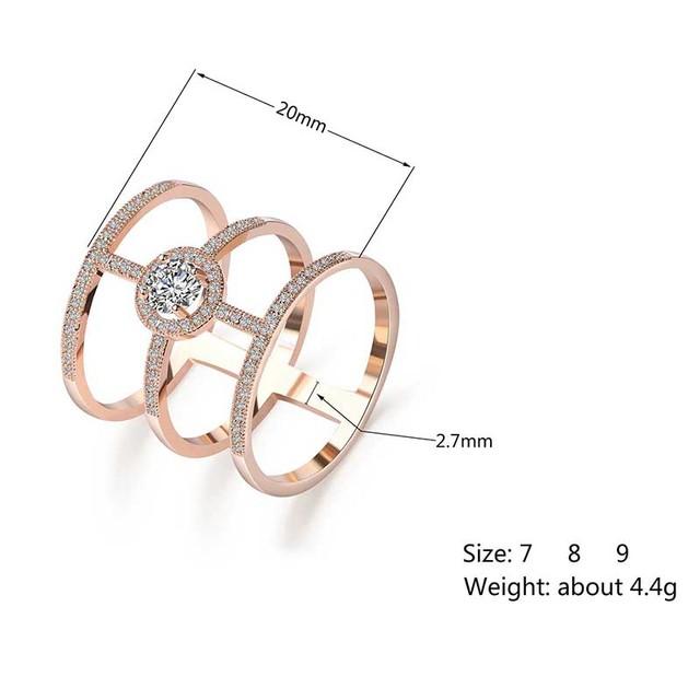 Ladies Crystal Top Zircon Long Finger Ring