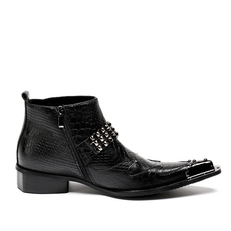 5f5ab39268 Botines Mabaiwan Hombres Zapatos Vaquero Militar Punta Goma Botas Calzado  Seguridad Remaches Negro marrón De Negro ...